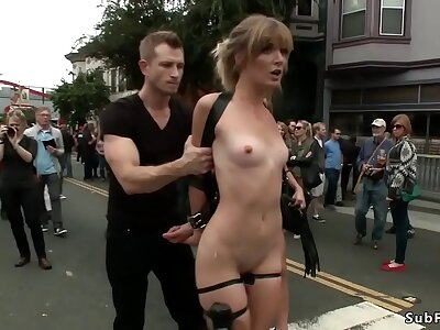 Blonde is anal fucked thither public