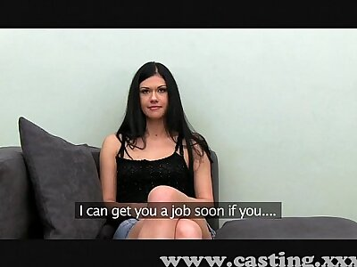 Casting Chief time facial for cute young brunette